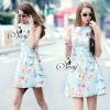 Sevy Tropical Sleeveless Blue Garden Mini Dress