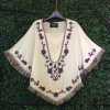 Lady Ribbon's Made Lady 70s Embroidered Batwing Hippie Blouse