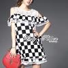 Lady Ribbon's Made Lady Isabella Smart Off-Shoulder Check Printed Cotton Dress