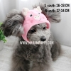 หมวกสุนัขแฟนซี ลายหมู สีชมพู พร้อมส่ง