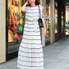 Cliona made' Long Stripped Maxi Dress