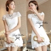 Lady Ribbon's Made Lady Pure White Blossom Embroidery Gala Mini Dress