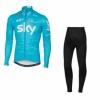 ชุดปั่นจักรยานแขนยาวลายทีม SKY Y24 กางเกงเป้าเจล