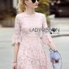 Lady Ribbon's Made Lady Lindsay Feminine Chic Baby Pink Lace Dress