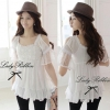 Lady White Blooming Lace Cut-shoulder Blouse