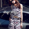 Lady Ribbon's Made Lady Claire Graphic Tribal Sleeveless Top and Shorts Ensemble Set