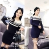 Long Sleeve Double Strip Line Dress