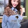 Leopard Denim Mixed Shirt by Seoul Secret