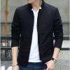 พร้อมส่ง เสื้อแจ็คเก็ต ผู้ชาย สีดำเสื้อคลุม ซิปหน้า คอจีน ซับในพิมพ์ลาย กระเป๋าข้างใช้งานได้