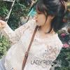 Lady Ribbon's Made Lady Alana Sweet Feminine Mix Fabrics Lace Blouse