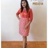 เดรสผ้าลูกไม้สีส้ม แต่งแถบกำมะหยี่ Lace Top Dress (Orange)