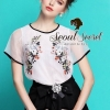 Organdy Flower Embroider Blouse math with Black Shorts Bow Diamond by Seoul Secret