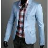 พร้อมส่ง เสื้อสูทผู้ชาย สีฟ้า คอปก แขนยาว กระดุมเม็ดเดียว ผ่าหลัง แต่งกระดุมปลายแขน ใส่ทำงาน ใส่เป็นสูทลำลอง