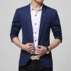 พรีออร์เดอร์ เสื้อสูทผู้ชาย สีน้ำเงิน ปกเสื้อแต่งเก๋ เสื้อสูทใส่ลำลอง ใส่ทำงานได้ เท่ห์มาก