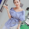 Lady Ribbon's Made Lady Kim Sexy Off-Shoulder Striped Shirt in Blue
