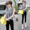(ส่งฟรี EMS) Sevy Summer Striped Chiffon Legging Pants Jumpsuit