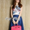Lady Ribbon's Made Lady Elena Graphic Print Crop Top and Denim Midi Skirt Set