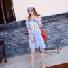 Strapless Denim Diamond 3 D dimensional Flower Dress