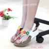 รองเท้าสไตล์ fitflop ทรงสวมรัดส้น ด้านหน้าประดับดอกไม้น่ารัก