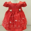 ชุดเสื้อผ้าเด็กเล็กผ้าไหมแก้วสีแดงสำหรับเด็ก6-24เดือน