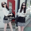 Lady Ribbon's Made Lady Bella Tribal Chic Black and White Knit Mini Skirt