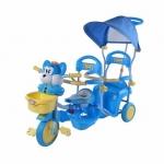 รถสามล้อเด็ก แบบนั่งสองคน เข็นได้ สีฟ้า