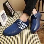 พร้อมส่ง รองเท้าผู้ชาย รองเท้าหนัง รองเท้าลำลอง สีน้ำเงิน ใส่เที่ยว ใส่ทำงาน