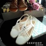 รองเท้า ส้นแบน มีสม็อคยืดหยุ่นได้ด้านหลัง ด้านหน้าหนัง สายสลับไขว้กัน STYLE VINTAGE หนังนิ่ม