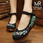 รองเท้าปักลายพัดแบบจีนที่hotมากๆ รุ่นนี้พิเศษที่พื้นเสริมซิลิโคนนิ่ม