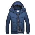 พร้อมส่ง เสื้อแจ็คเก็ตกันหนาวผู้ชาย สีน้ำเงิน มีฮู้ด(ถอดออกได้) แขนยาว ซับในลายสก็อต ใส่กันหนาว