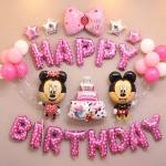 BIRTHDAY PARTY ลูกโป่งพร้อมป้ายจัดปาร์ตี้วันเกิดรูป 🎀 Mickey & Minnie ลายลิขสิทธิ์ สีสันสดใส