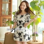 Lady Ribbon's Made Lady Rosie Classic Black and White Flowery Print Dress