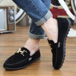 พร้อมส่ง รองเท้าผู้ชาย สีดำ รองเท้าลำลอง แบบสวม ใส่ทำงาน ใส่เที่ยว ใส่ไปงาน