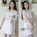 Lady Ribbon's Made 㾔ϠLady Justina Minimal Chic Mixed Fabric Set in White