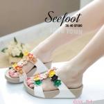 รองเท้าแฟชั่นสไตล์ fitflop พื้นนิ่ม ทรงสวม ด้านหน้าแต่งดอกไม้ ติดอะไหล่พลอยสวยงาม
