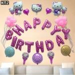 BIRTHDAY PARTY (KT2) ลูกโป่งพร้อมป้ายจัดปาร์ตี้วันเกิดรูป Kitty ลายลิขสิทธิ์ สีสันสดใส