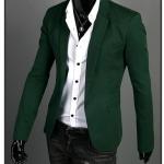 พร้อมส่ง เสื้อสูทผู้ชาย สีเขียว คอปก แขนยาว กระดุมเม็ดเดียว ผ่าหลัง แต่งกระดุมปลายแขน ใส่ทำงาน ใส่เป็นสูทลำลอง
