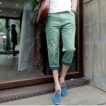 กางเกงขา 5 ส่วน แฟชั่น กางเกงขา 5 ส่วน พร้อมส่ง สีเขียว มีกระเป๋าข้าง แต่งขอบขา แต่งขอบกระเป๋า ใส่เที่ยว สบายๆ ชิลๆ