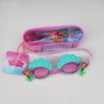 แว่นว่ายน้ำสำหรับเด็กลาย Mermaid สายซิลิโคนปรับขนาดได้ พร้อมที่อุดหู