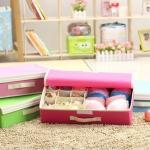 กล่องผ้า จัดเก็บชุดชั้นใน กางเกงใน หรือถุงเท้า ในกล่องเดียวกัน มีฝาปิด พับเก็บได้