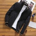 พร้อมส่ง เสื้อแจ็คเก็ต ผู้ชาย สีดำ ซิปหน้า คอจีน ปลายแขนจั้ม แต่งลาย กระเป๋าข้างใช้งานได้