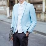 พร้อมส่ง เสื้อสูทผู้ชาย สีฟ้า แขนยาว กระดุมหน้าหนึ่งเม็ด แต่งขอบกระเป๋าอกสีขาว เสื้อเข้ารูป สูทแฟชั่นผู้ชาย