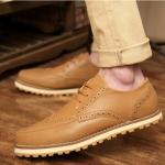 รองเท้าแฟชั่นผู้ชาย พรีออร์เดอร์ รองเท้าหนัง สีน้ำตาล ผูกเชือก ใส่เที่ยว ใส่ทำงาน