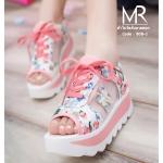 รองเท้าผ้าใบเปิดส้นลายดอกไม้ สไตล์ NB บุผ้านิ่มๆรอบด้าน ลายสวยหวาน