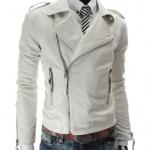 พรีออร์เดอร์ เสื้อแจ็คเก็ตหนัง PU เสื้อหนัง สีขาว คอปก ซิปเฉียง ใส่ขี่มอเตอร์ไซค์ ใส่เป็นเสื้อคลุม ใส่เท่ ใส่สบาย