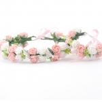 มงกุฎดอกไม้ และกำไลข้อมือ ตกแต่ง2ชั้น สีชมพู-ขาว