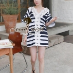 Chicly V Shape Lace Cotton Stripy Dress by Seoul Secret
