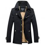 พรีออร์เดอร์ เสื้อแจ็คเก็ตกันหนาวผู้ชาย สีดำ บุขนด้านใน ออกแบบเท่ห์ ใส่กันหนาว