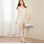 vivid gold embellish & flower stitch Dress