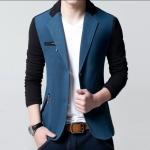 พร้อมส่ง เสื้อสูท ผู้ชาย คอปก สีน้ำเงิน แขนยาว กระดุมหน้า 2 เม็ด แต่งขอบกระเป๋าอกสีดำ แขนสีดำ